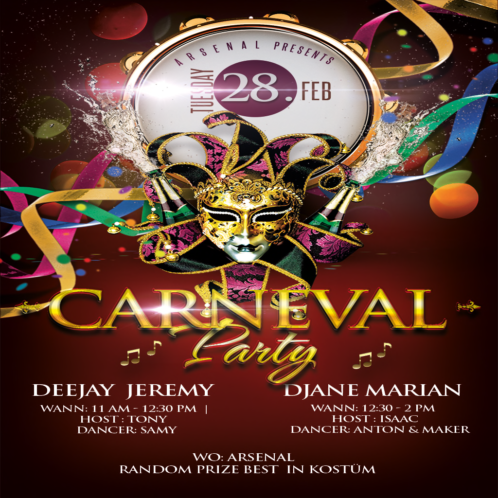 Carneval Party Flyer DEEJAY JEREMY & DJane Marian